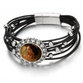Bracelet fantaisie métal et cuir